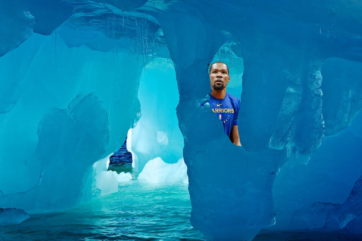 Kevin Durant peeking from behind a glacier.