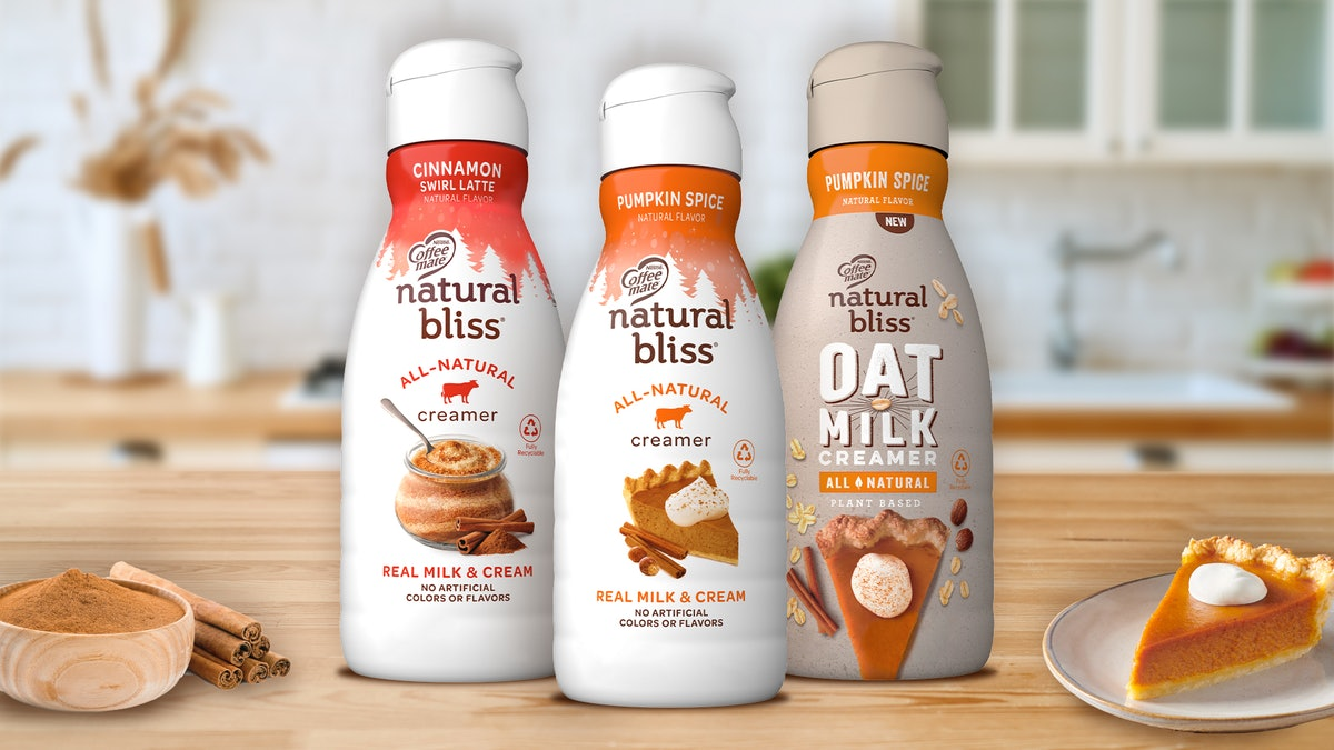 Natural Bliss' new Pumpkin Spice Oat Milk Creamer is perfect for fall.