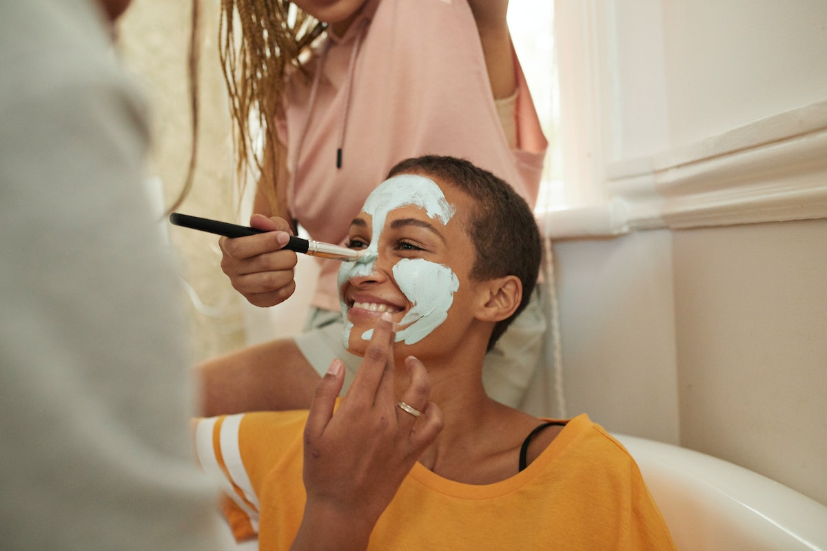 young woman getting a facial