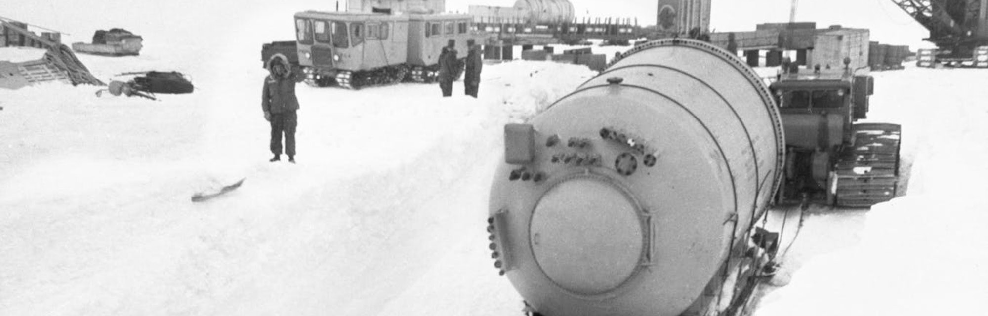 Part of a portable nuclear power plant arrives at Camp Century in 1960.