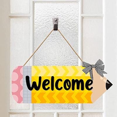 Back To School Pencil Welcome Door Sign