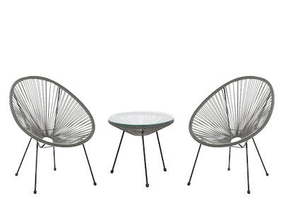 Garden Rattan Chair Set - Dark Grey
