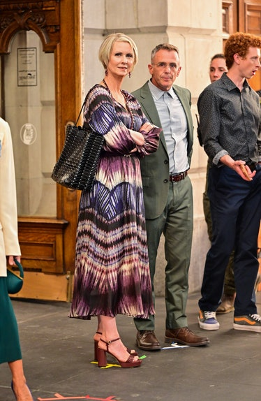 Cynthia Nixon on the set of 'And Just Like That'