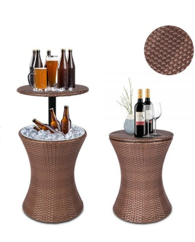 Rattan Style Cooler Buckets Bar Table - Brown