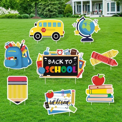 Back To School Yard Signs With Stakes, Set Of 8