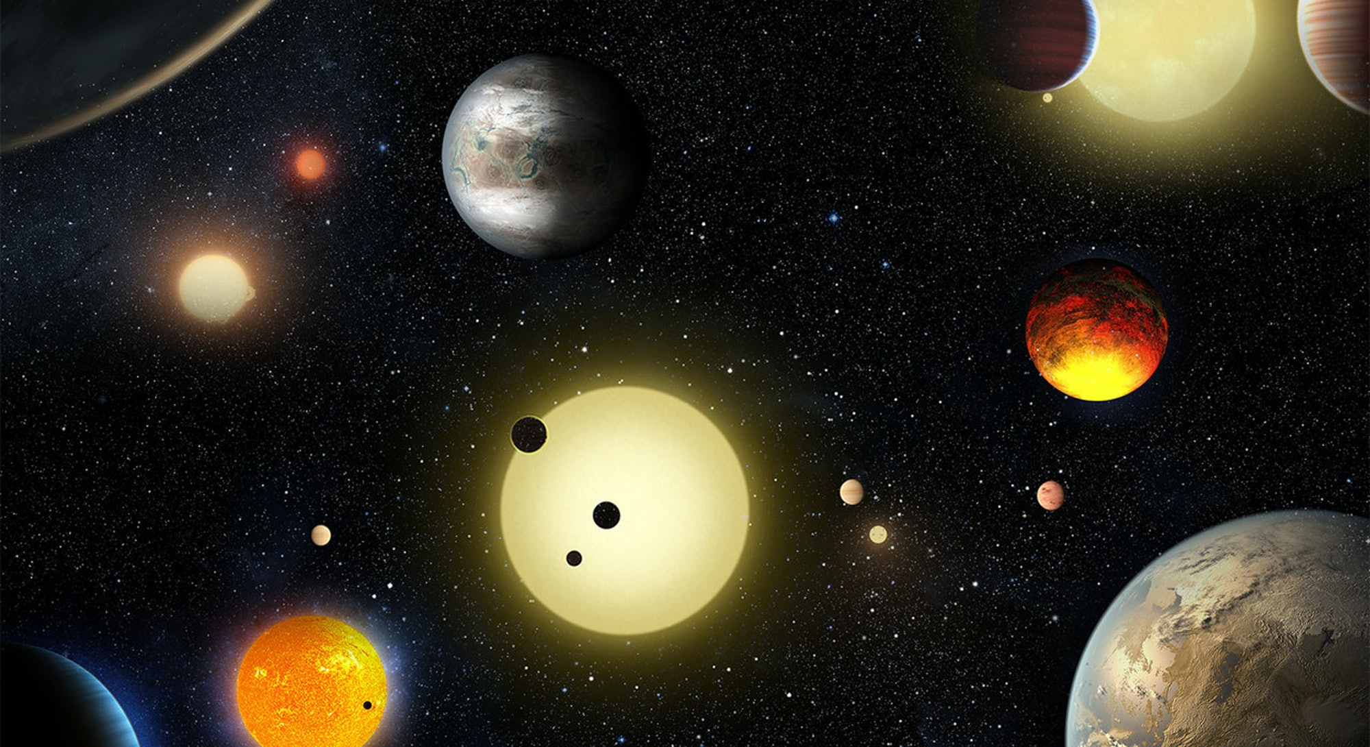 An illustration of exoplanets in the universe.