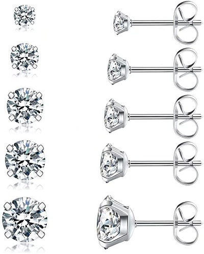 Wssxc Cubic Zirconia Stud Earrings Set (5 Pairs)