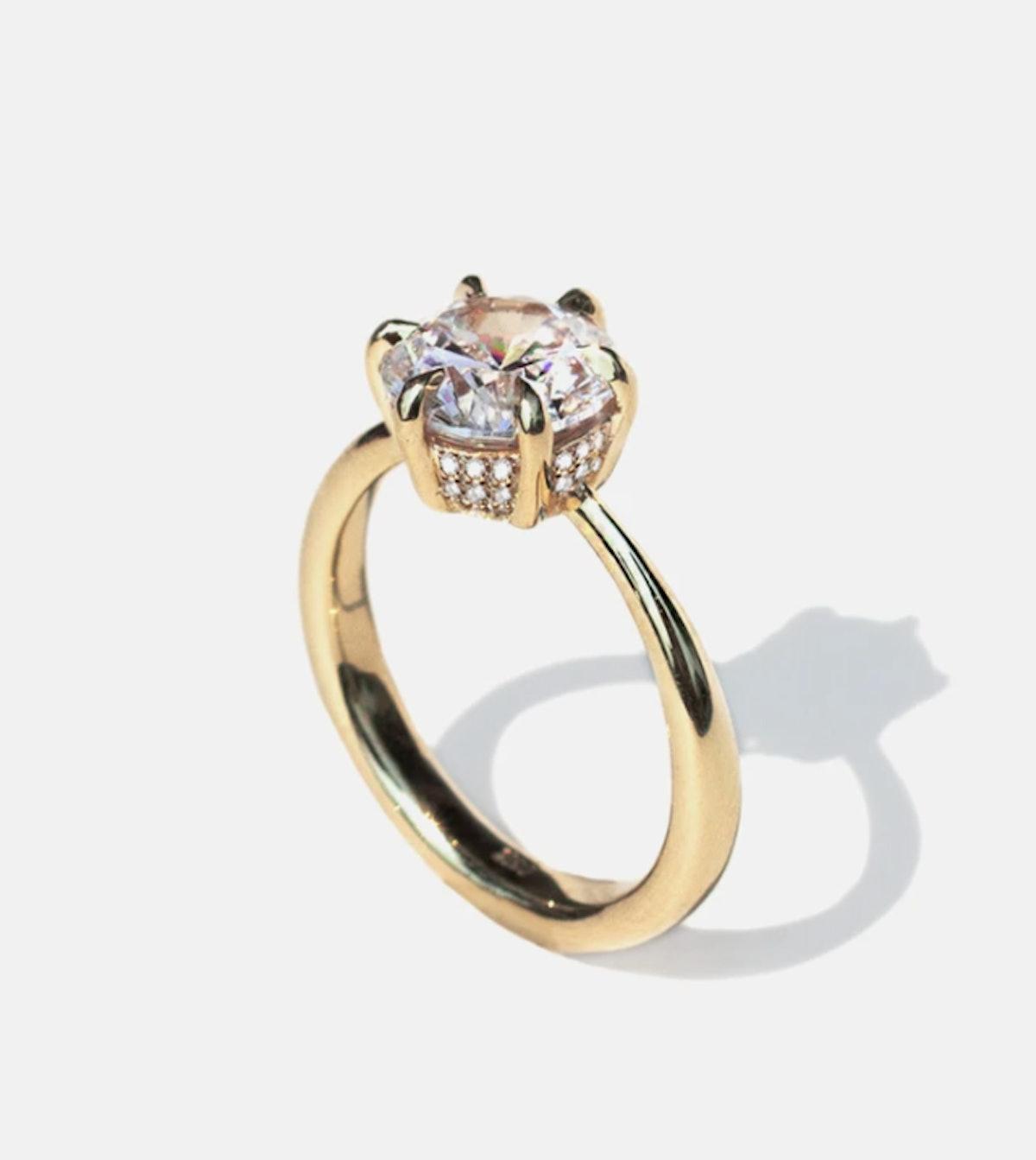 KATKIM's Diamond Arena Engagement Ring with a 360 hidden halo.