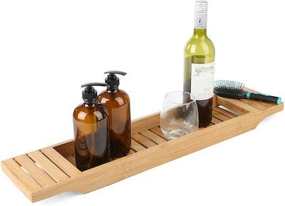 Mind Reader Bamboo Bathtub One Bath Caddy