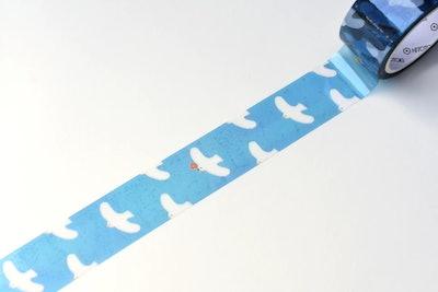 transparent masking tape with white bird motif