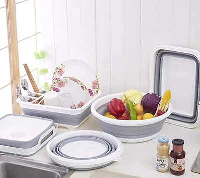 Ahyuan Collapsible Dish Drying Rack and Drainboard Set