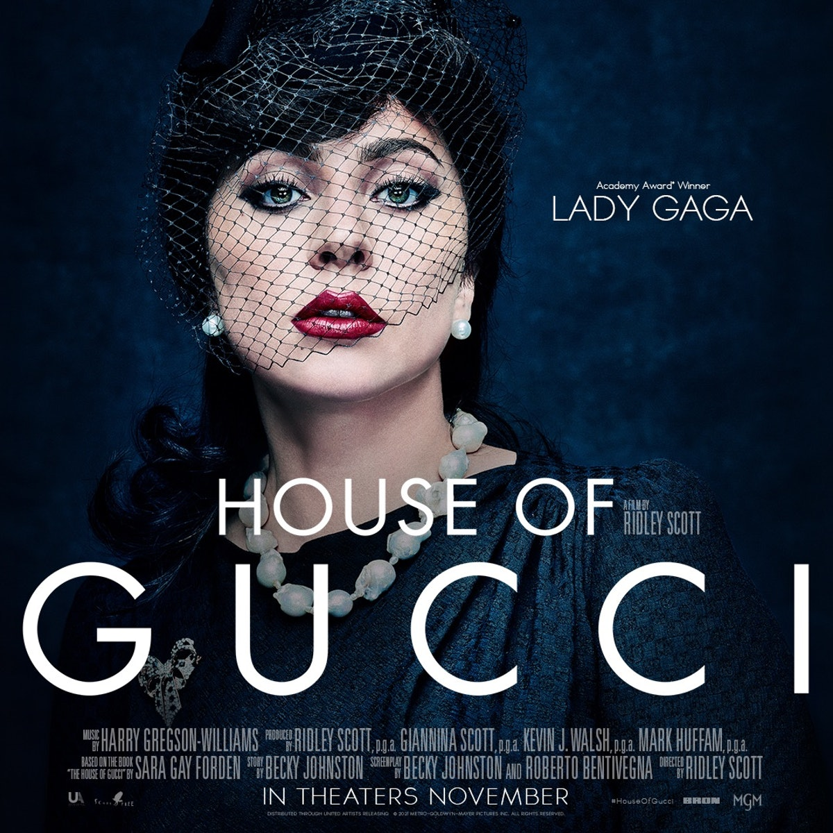 Lady Gaga in House of Gucci poster.