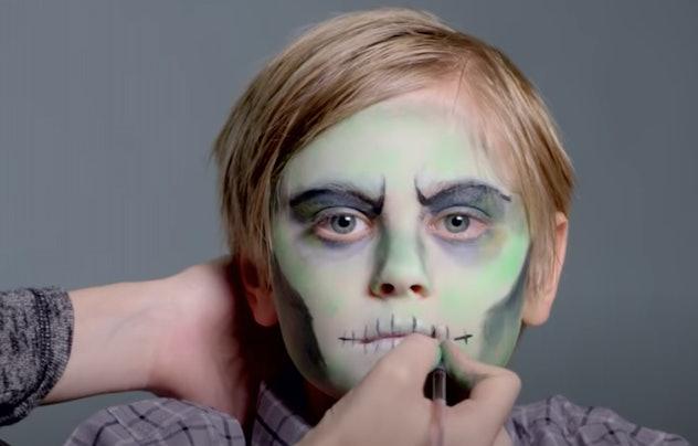 little boy in zombie makeup