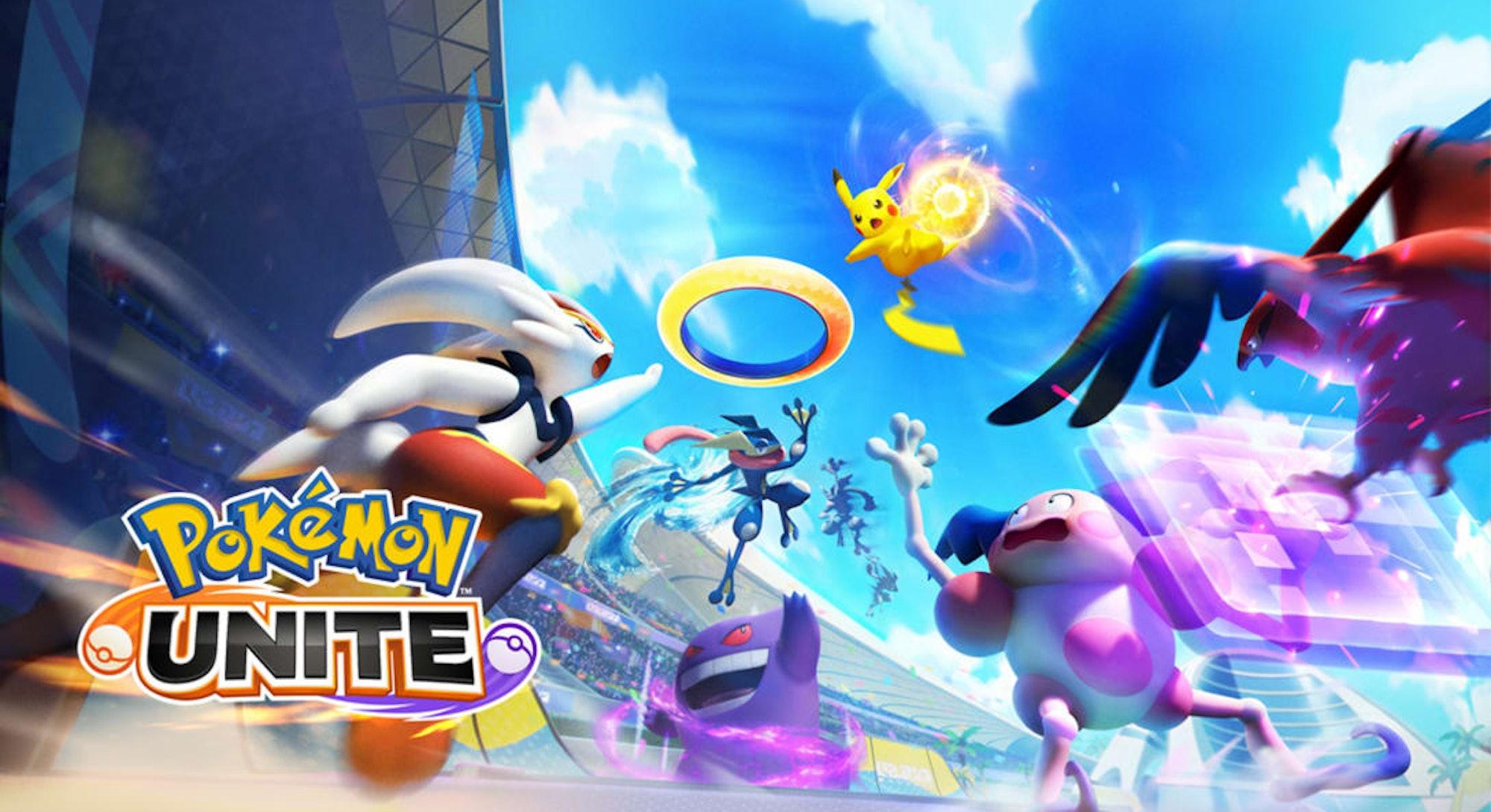 illustration of Pokémon fighting in Pokémon Unite