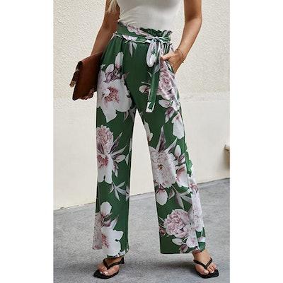 ECOWISH Belted Wide Leg Pants