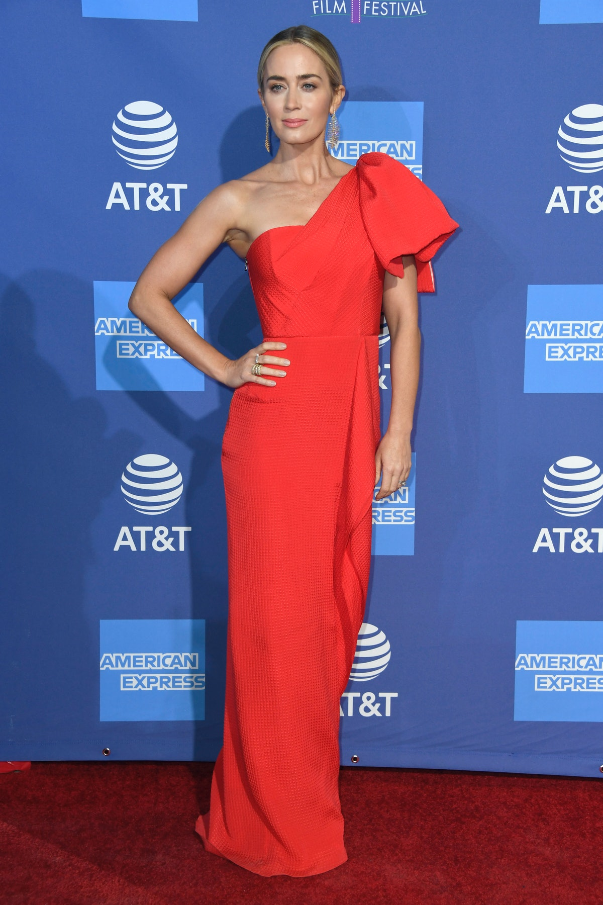 Emily Blunt in one shouldered gown.