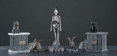 Eabbit, cat, and skeleton Monster Scenes model kit add-ons