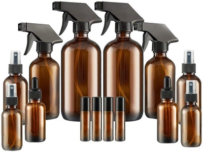 Empty Amber Glass Spray Bottles Set with Labels