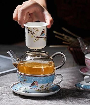 Jusalpha Fine China Glass Teapot Set (4 Pieces)