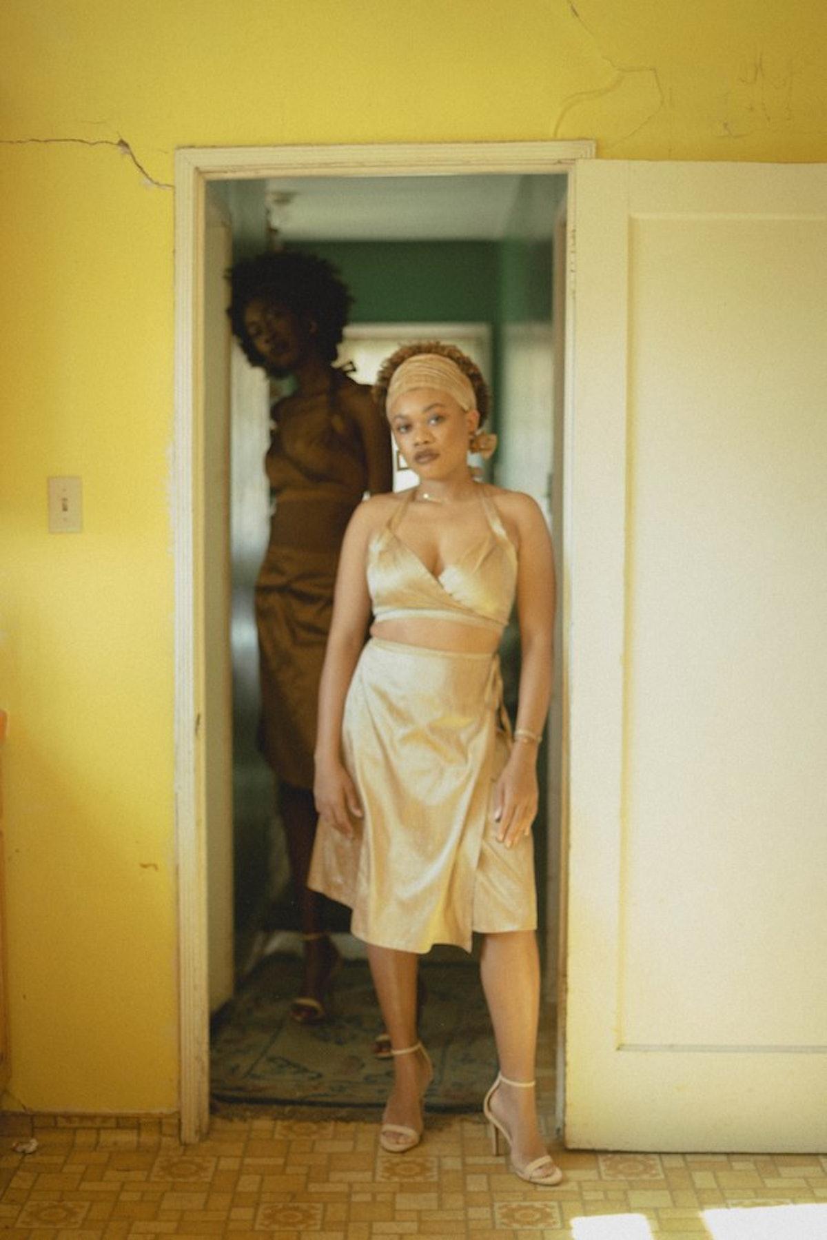 Champagne Nude Silk Wrap Skirt
