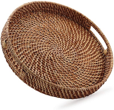 Round Rattan Woven Serving Tray with Handles
