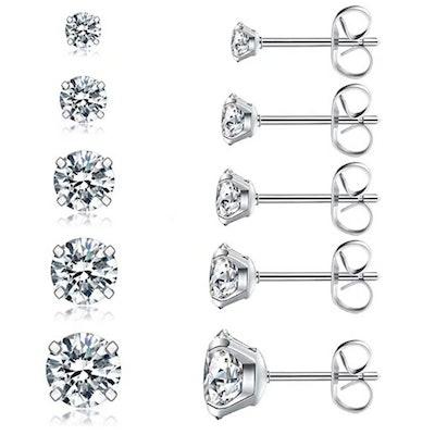 Cubic Zirconia Stud Earrings Set (5 Pairs)