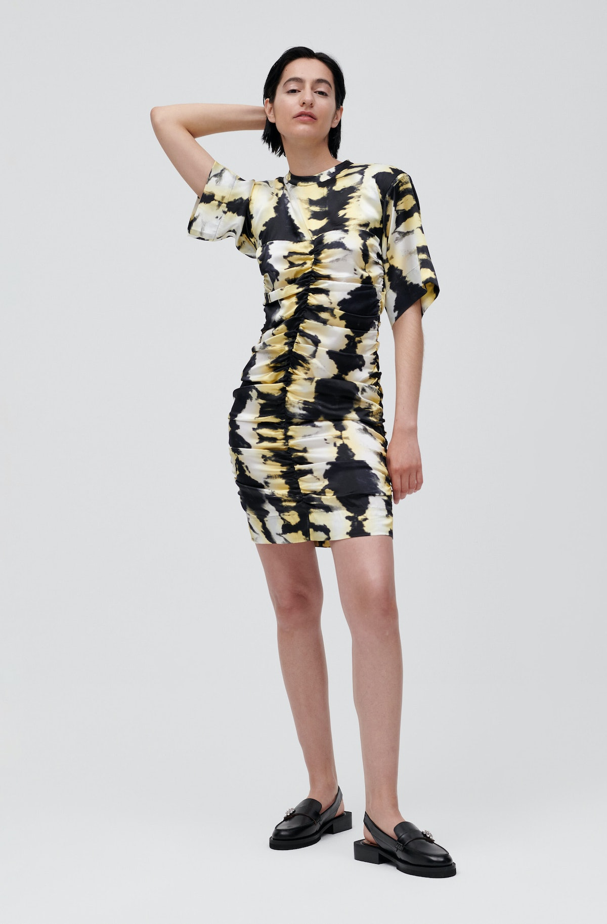 Ganni Ruched Black and Yellow Tie-Dye Dress