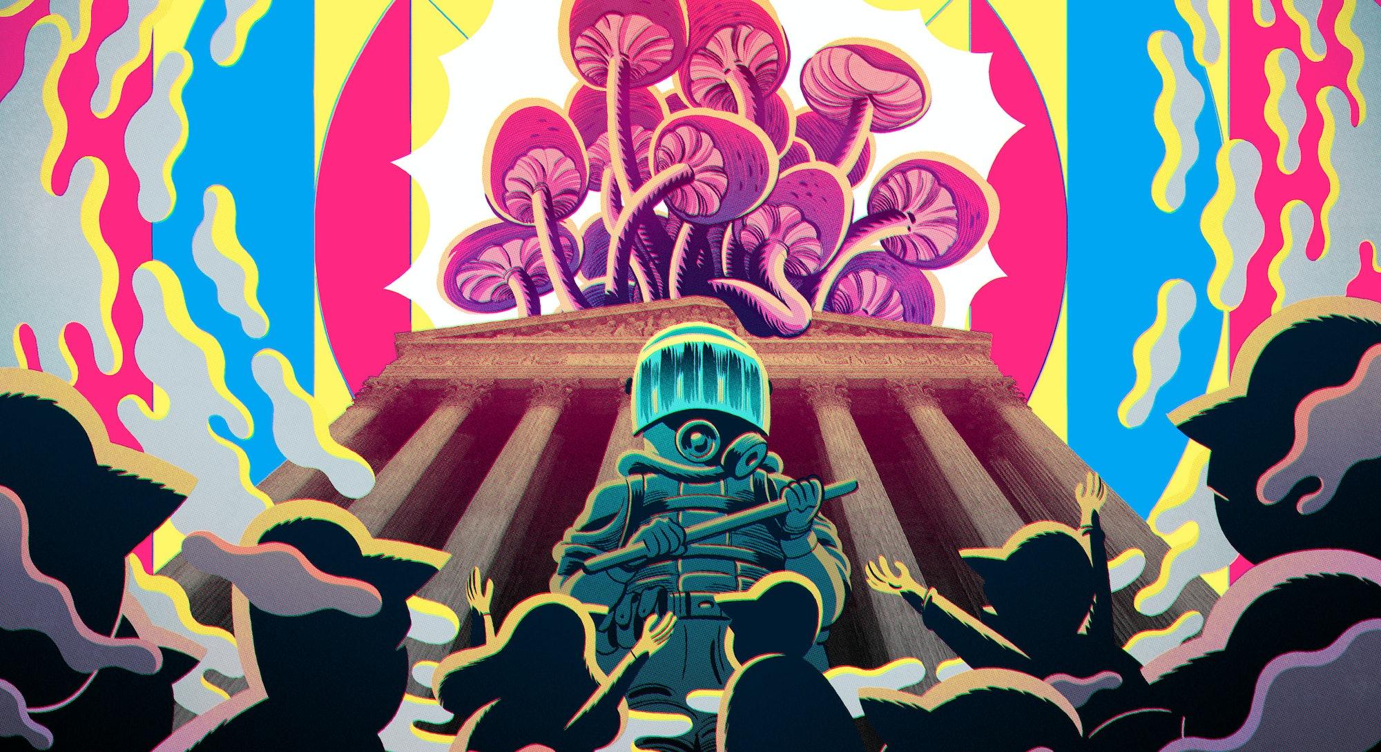 magic mushrooms DEA suit illustration