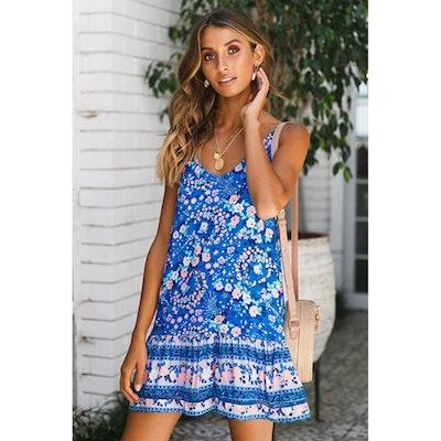 Qearal Printed Sleeveless Mini Dress