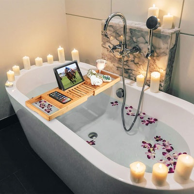 Bambüsi Premium Bamboo Bathtub Tray Caddy