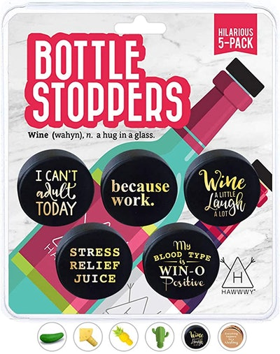 Hawwwy Funny Wine Stoppers (5-Pack)