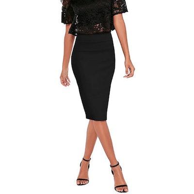 HyBrid & Company Nylon Ponte Stretch Pencil Skirt