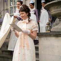 Clues about Lady Whistledown's identity. Photo via Netflix