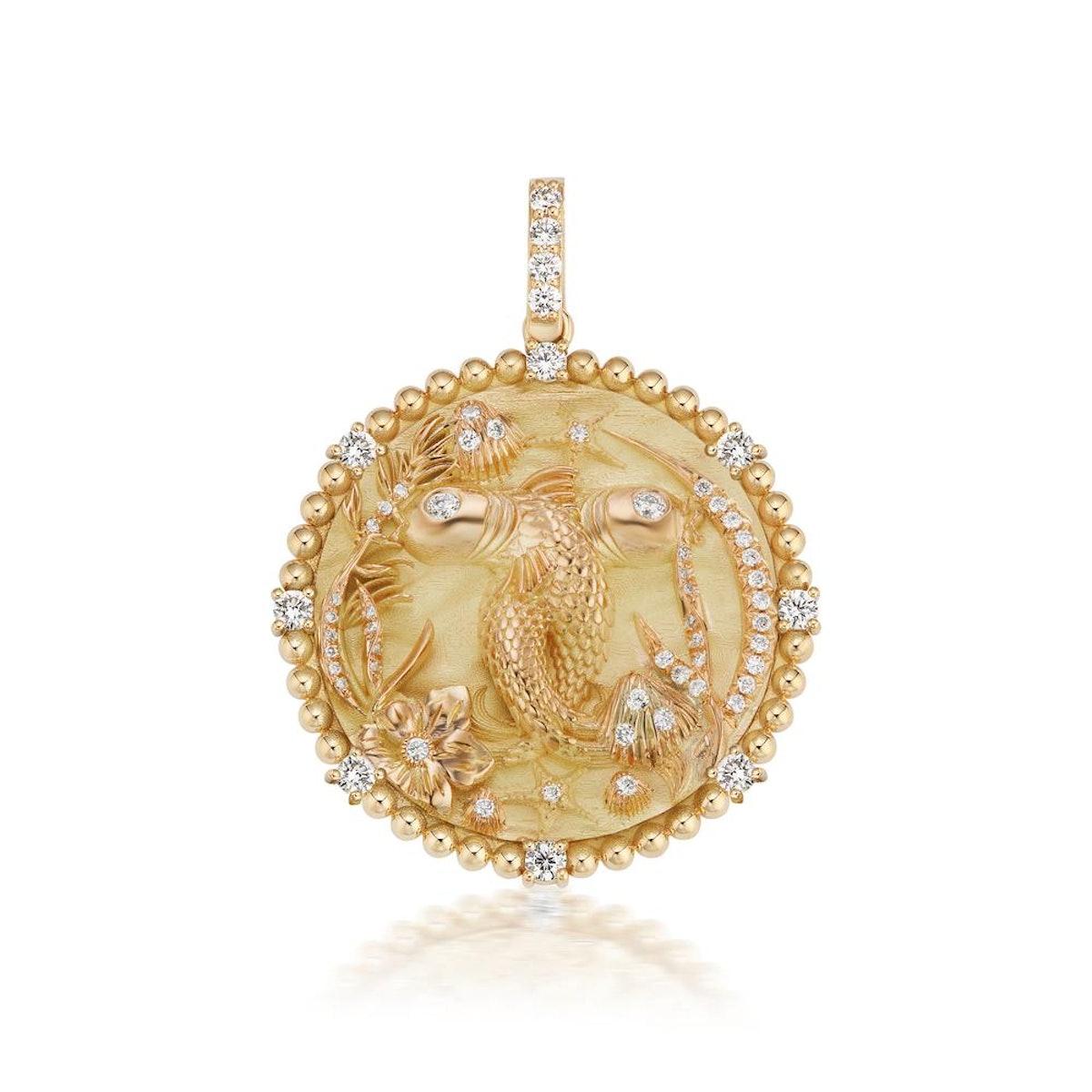 Jumbo Pisces Zodiac Medallion 18k Yellow Gold by Briony Raymond.