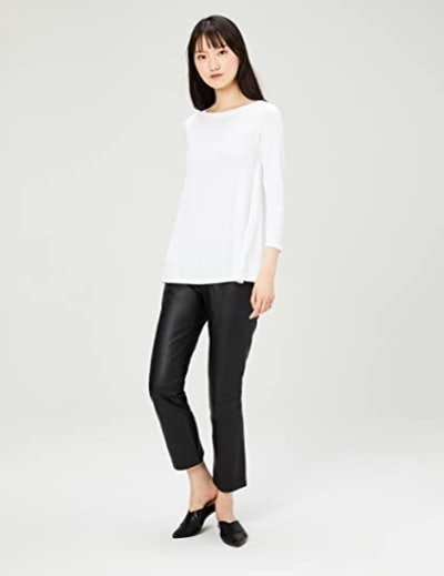 Daily Ritual Jersey 3/4-sleeve Bateau-Neck Swing T-Shirt