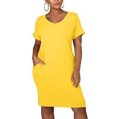 cailami V Neck Midi Tshirt Dress