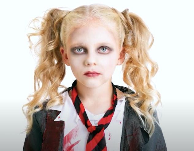 little girl in zombie makeup