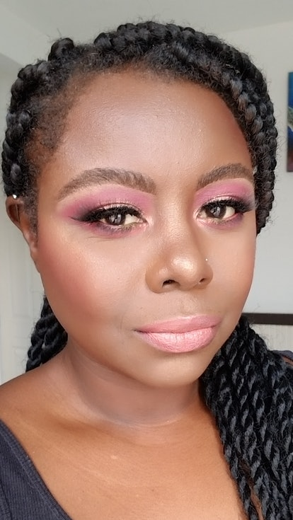 e.l.f. Game Up Contest Winner Nadia Exama in a shimmering, blushy makeup look.