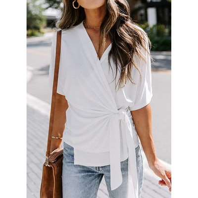 Ecrocoo Tiered Bell Sleeve Blouse