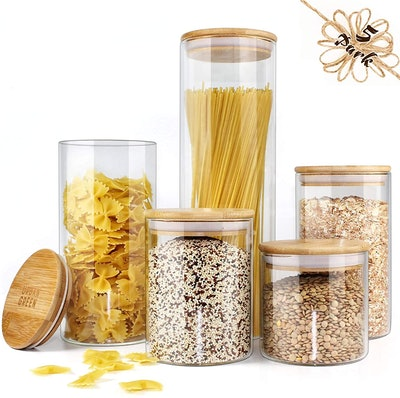 Urban Green Store Glass Jar with Bamboo Lids (Set of 5)