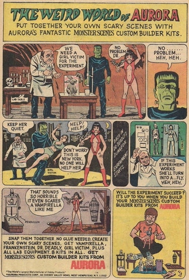 Comic book ad for Monster Scenes referencing Kitty Genovese