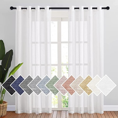 NICETOWN White Linen Curtains