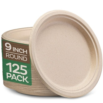 Stack Man Compostable 9-Inch Paper Plates, 125-Count