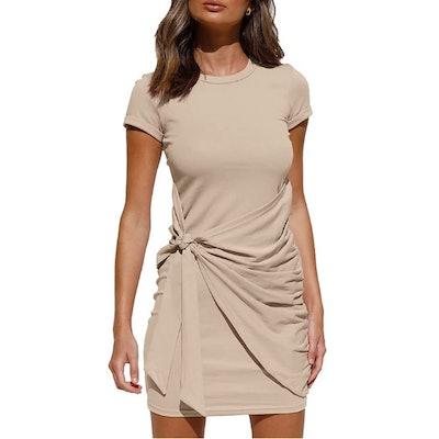LILLUSORY Ruched Tie Waist Mini Dress