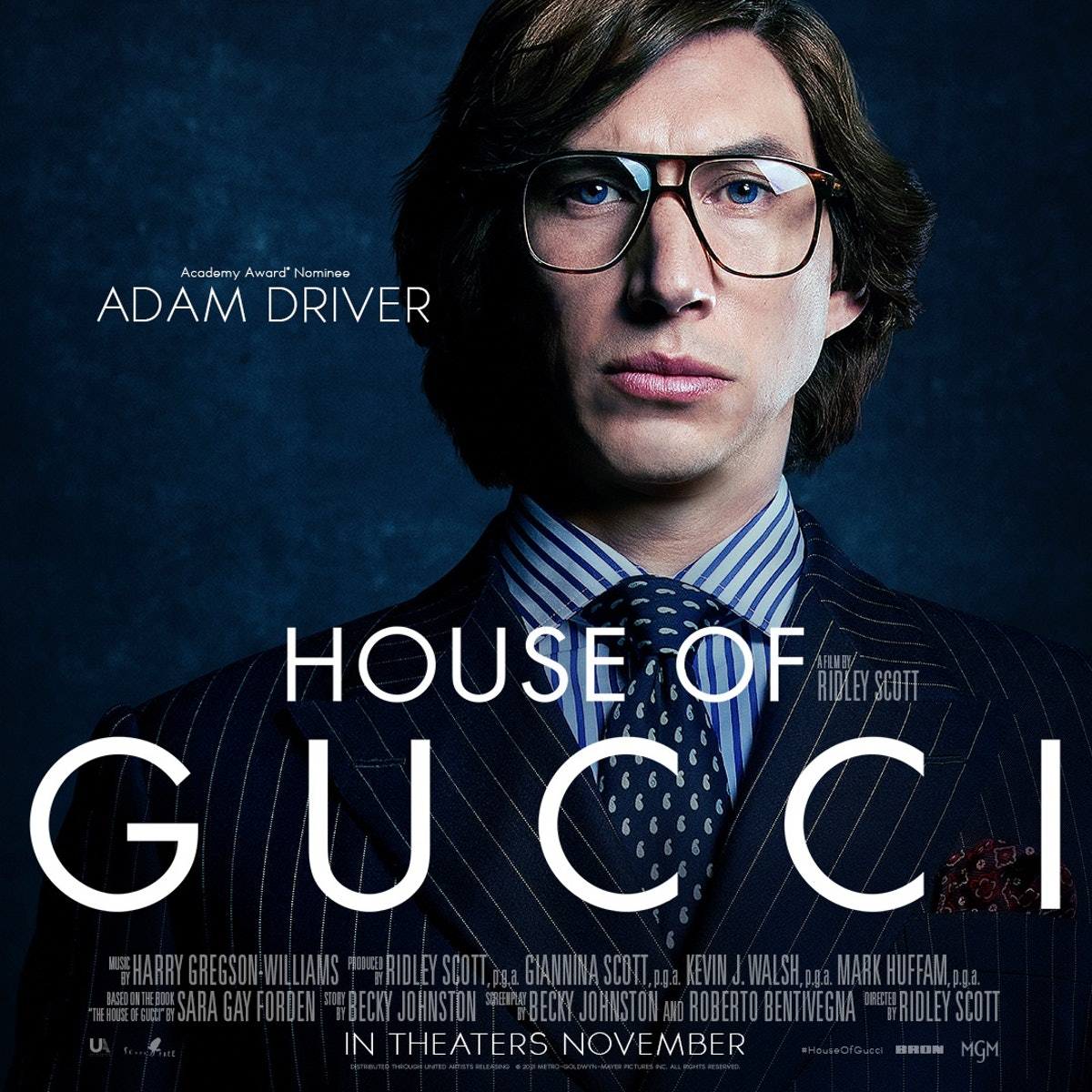 Adam Driver in House of Gucci poster.