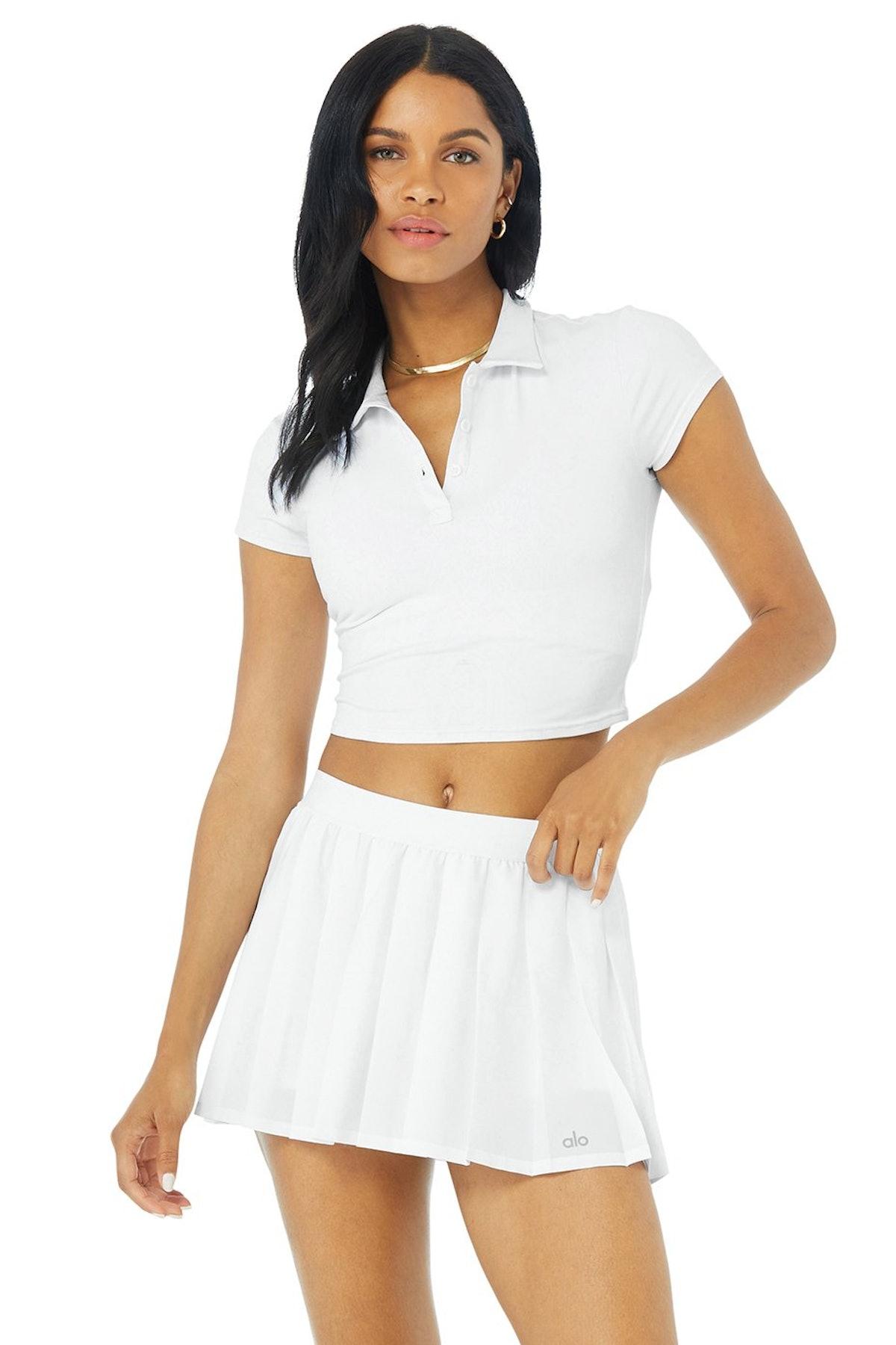 Alo Yoga white polo shirt