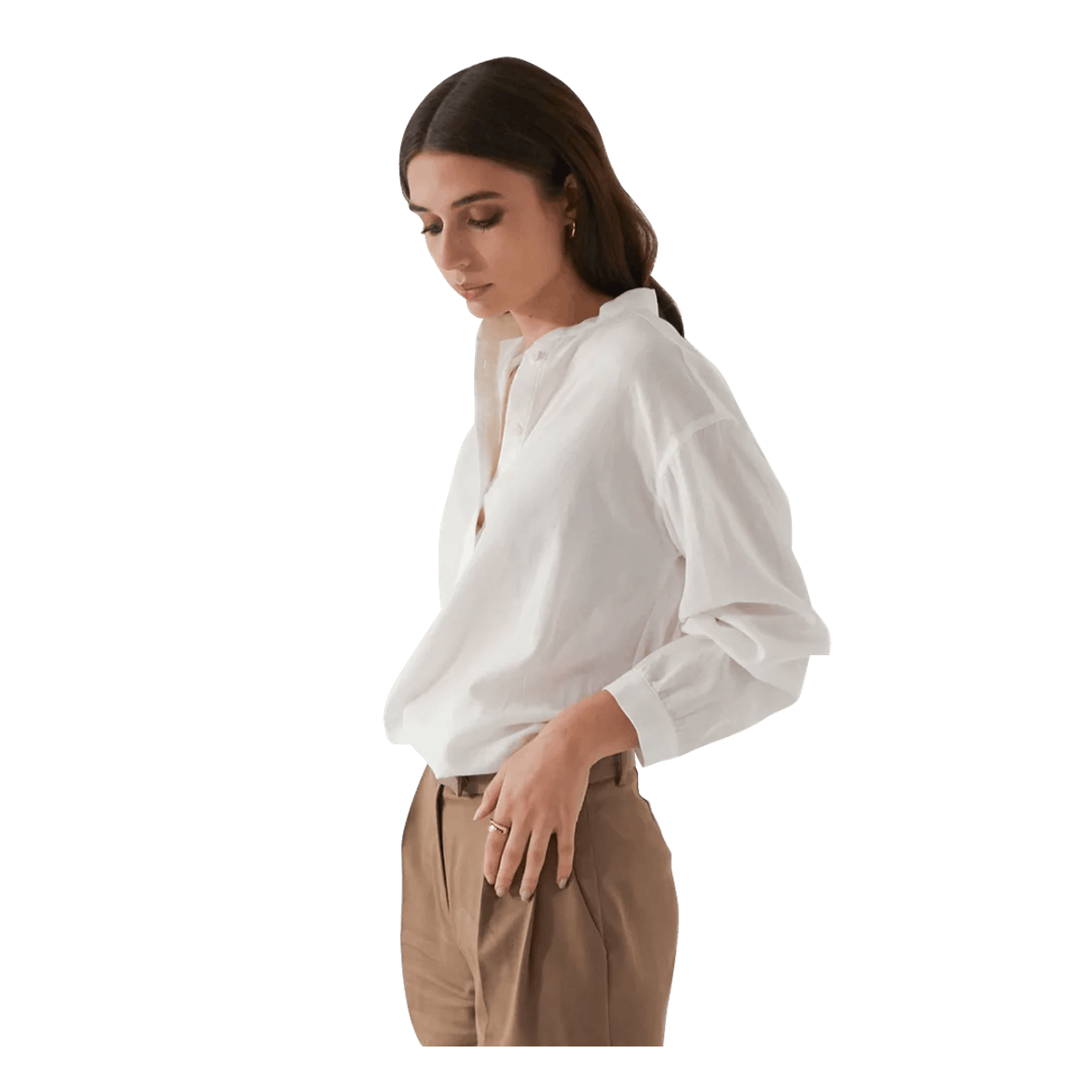 Band Collar Button Up Shirt