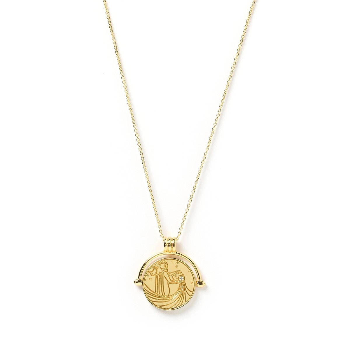 Arms of Eve Aquarius Zodiac Gold Spinner Necklace.