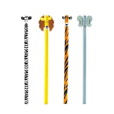zebra, lion, tiger, and elephant safari pencils from kikkerland