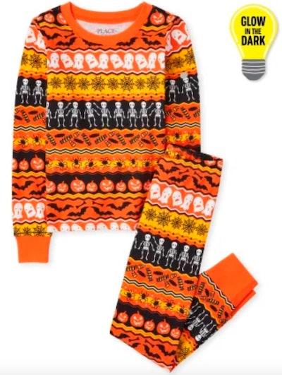 Unisex Matching Family Glow Halloween Fairisle Snug Fit Cotton Pajamas